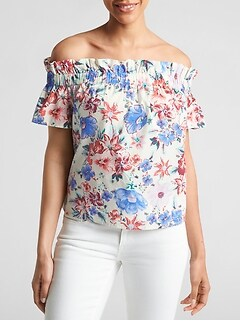 Print Short Sleeve Off-Shoulder Top