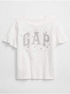 Embellished Ruffle-Sleeve Arch Logo Graphic T-Shirt