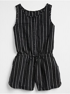 Print Button-Front Romper