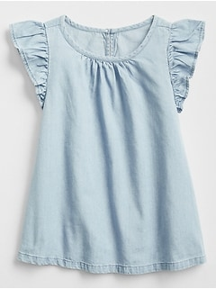 Chambray Flutter Top