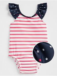 Stripe Flutter Swim One-Piece