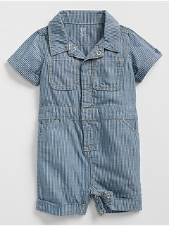 Stripe Shorty One-Piece in Chambray