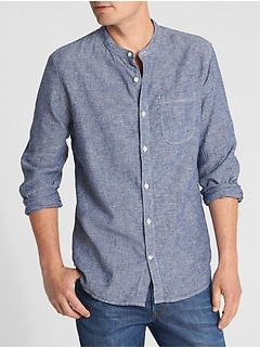 Band Collar Shirt in Linen-Cotton