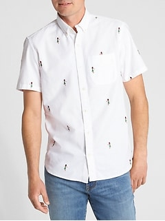 Embroidered Short Sleeve Oxford Shirt