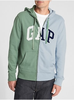 Logo Global Remix Spliced Zip Hoodie