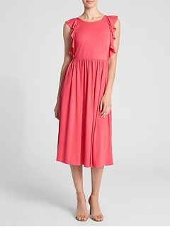 Fit and Flare Midi Ruffle Sleeve Dress