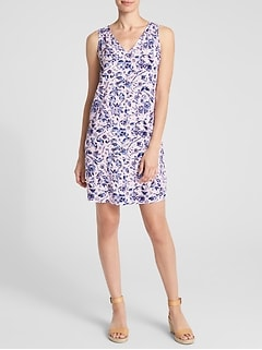 Sleeveless V-Neck Print Shift Dress