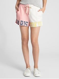 Logo Global Remix Spliced Drawstring Shorts