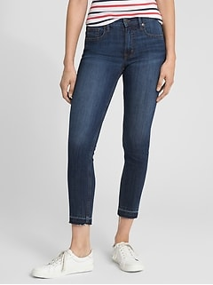Super High Rise True Skinny Crop Jeans with Raw Hem