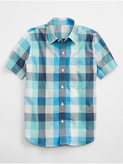 Plaid Short Sleeve Shirt in Poplin