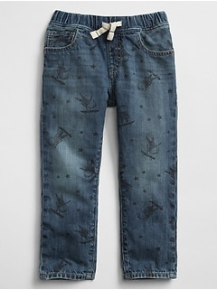 Pull-On Slim Jeans in Astronaut Print