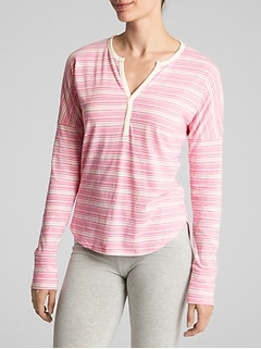 Print Long Sleeve Sleep T-Shirt in Cotton-Modal