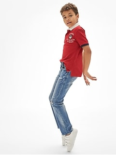 Kids Destructed Straight Jeans with Stretch