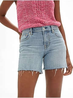 "Mid Rise 5"" Denim Shorts with Raw-Hem"
