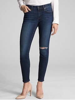 Mid Rise Destructed Curvy True Skinny Jeans