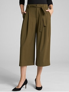 Belted Crop Wide-Leg Pants
