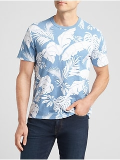 Tropical Print Short Sleeve Crewneck T-Shirt