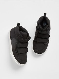 Faux Leather Hi-Top Sneakers