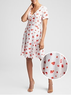 Floral Fit & Flare Dress in Rayon