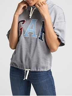 Drop-Shoulder Arch Logo Pullover in Fleece