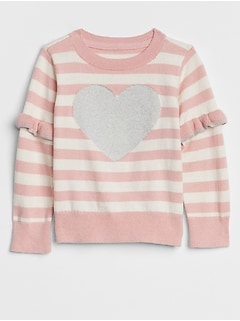 Stripe Heart Ruffle-Sleeve Sweater