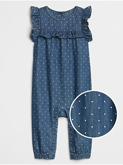Baby Dot Ruffle Denim One-Piece