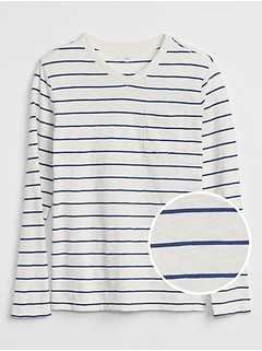 Stripe Long Sleeve Pocket T-Shirt in Slub Jersey