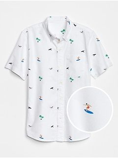 Shark Print Short Sleeve Shirt