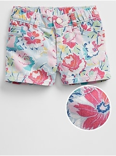 Print Denim Shorts