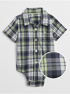 Plaid Button-Up Bodysuit in Poplin