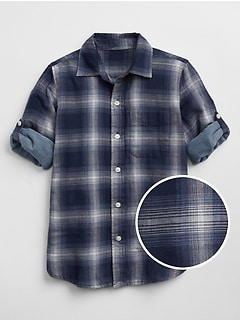 Plaid Double-Weave Convertible Shirt
