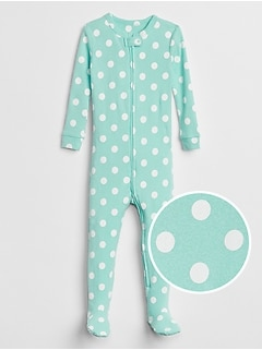 Print Footed Pajama One-Piece