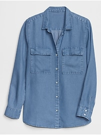 fe78009c69 Chambray Utility Pocket Boyfriend Shirt