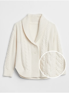 Cable-Knit Shawl Collar Cardigan
