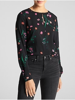 Print Split-Neck Top