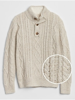 Cable-Knit Henley Sweater