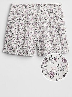 Print Shorts in Linen-Cotton