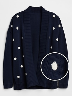 Dot Open-Front Cardigan