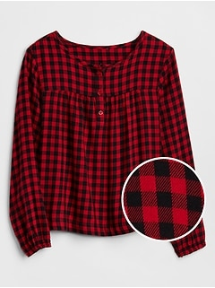 Shirred Plaid Top in Twill