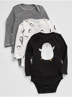 Penguin Long Sleeve Bodysuit (3-Pack)