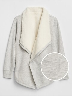 Sherpa-Lined Open-Front Cardigan