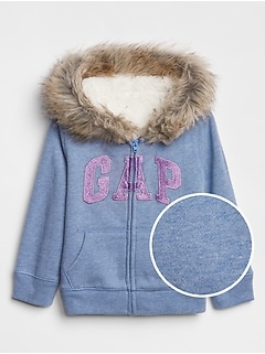 Toddler Cozy Fur-Trim Gap Logo Zip Hoodie