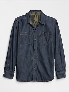 Kids Contrast-Lined Denim Long Sleeve Shirt
