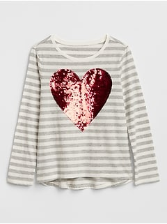 Stripe Flippy Sequin Graphic T-Shirt in Jersey