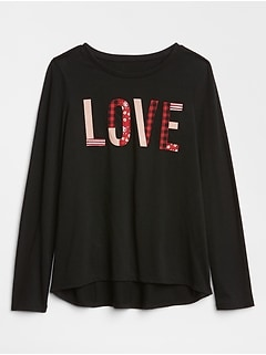 Embellished Love Graphic Long Sleeve T-Shirt in Jersey