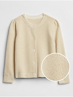 Toddler Metallic Puff-Sleeve Cardigan Sweater