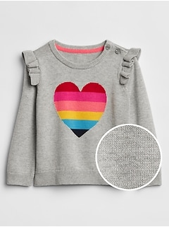 Ruffle Rainbow Heart Sweater