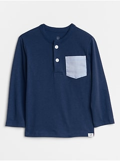 Chambray-Pocket Long Sleeve Henley T-Shirt
