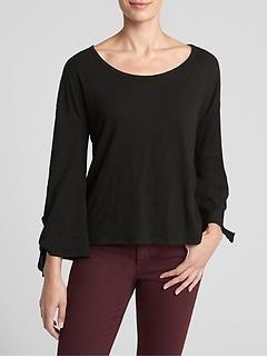 Long Tie-Sleeve T-Shirt in Slub