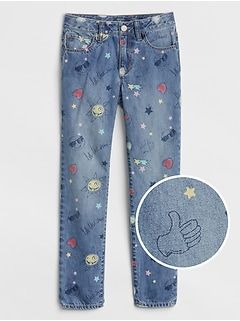 Kids Superdenim Girlfriend Jeans in Emoji Print with Fantastiflex